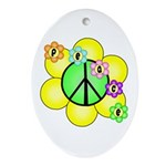 Peace Blossoms / Green Oval Ornament