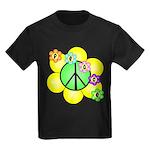 Peace Blossoms / Green Kids Dark T-Shirt
