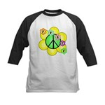 Peace Blossoms / Green Kids Baseball Jersey