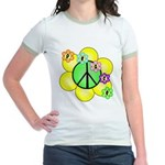Peace Blossoms / Green Jr. Ringer T-Shirt