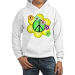 Peace Blossoms / Green Hooded Sweatshirt