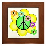 Peace Blossoms / Green Framed Tile