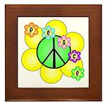 Peace Blossoms / Green Framed Tile