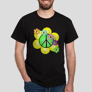 Peace Blossoms / Green Dark T-Shirt
