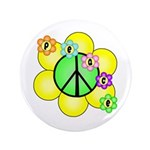 "Peace Blossoms / Green 3.5"" Button"