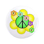 "Peace Blossoms / Green 3.5"" Button"