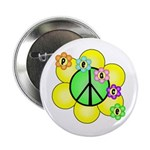 "Peace Blossoms / Green 2.25"" Button"