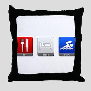 Eat, Sleep, Swim Throw Pillow