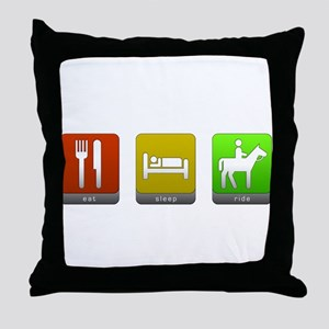 Eat, Sleep, Ride Throw Pillow