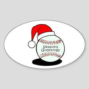 Baseball Greetings Oval Sticker