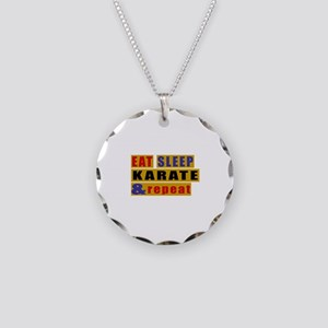 Eat Sleep Karate And Repeat Necklace Circle Charm