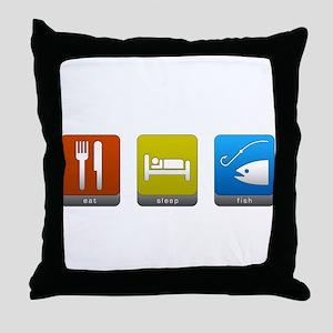 Eat, Sleep, Fish Throw Pillow