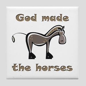 God Made Horses Tile Coaster