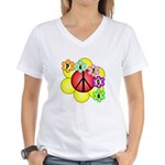 Super Peace Blossom Women's V-Neck T-Shirt