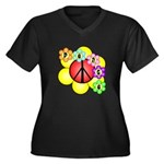 Super Peace Blossom Women's Plus Size V-Neck Dark