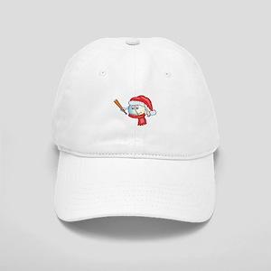Happy baseball smiley wearing a red santa hat Cap