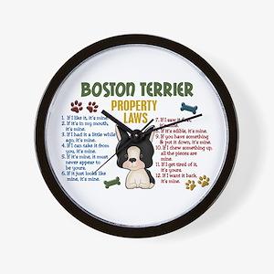 Boston Terrier Property Laws 4 Wall Clock