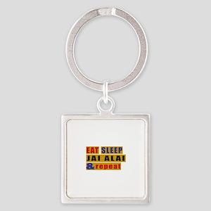 Eat Sleep Jai Alai And Repeat Square Keychain