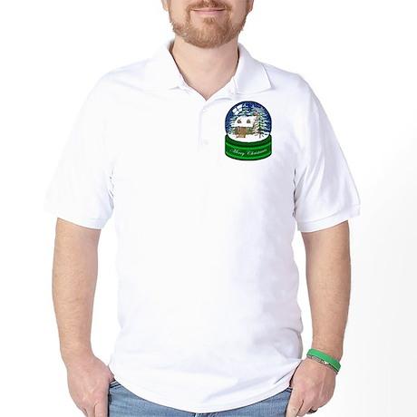 Log Cabin Snow Globe Golf Shirt