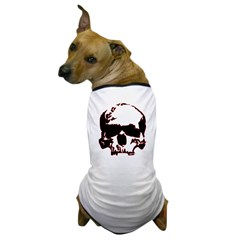 Black and Red Graphic Skull Dog T-Shirt