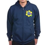 Peace Blossoms /blue Zip Hoodie (dark)