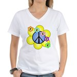 Peace Blossoms /blue Women's V-Neck T-Shirt