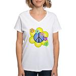 Peace Blossoms /blue Women's V-Neck T-Shirt