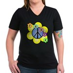 Peace Blossoms /blue Women's V-Neck Dark T-Shirt
