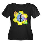 Peace Blossoms /blue Women's Plus Size Scoop Neck