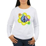 Peace Blossoms /blue Women's Long Sleeve T-Shirt