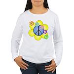 Peace Blossoms /blue Women's Long Sleeve T-Shirt