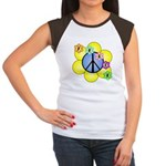 Peace Blossoms /blue Women's Cap Sleeve T-Shirt