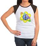 Peace Blossoms /blue Women's Cap Sleeve T-Shirt