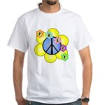 Peace Blossoms /blue White T-Shirt