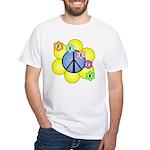 Peace Blossoms /blue White T-Shirt