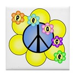 Peace Blossoms /blue Tile Coaster