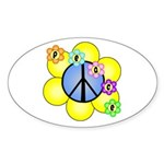 Peace Blossoms /blue Oval Sticker