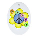 Peace Blossoms /blue Oval Ornament