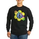 Peace Blossoms /blue Long Sleeve Dark T-Shirt