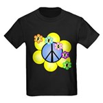 Peace Blossoms /blue Kids Dark T-Shirt