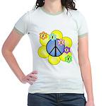 Peace Blossoms /blue Jr. Ringer T-Shirt