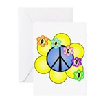Peace Blossoms /blue Greeting Cards (Pk of 10)