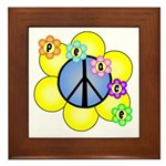 Peace Blossoms /blue Framed Tile