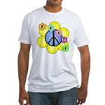 Peace Blossoms /blue Fitted T-Shirt