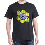 Peace Blossoms /blue Dark T-Shirt