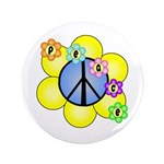 "Peace Blossoms /blue 3.5"" Button"