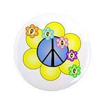 """Peace Blossoms /blue 3.5"""" Button"""