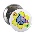 "Peace Blossoms /blue 2.25"" Button"