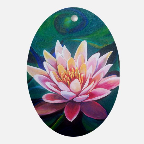 Cute Waterlily Oval Ornament