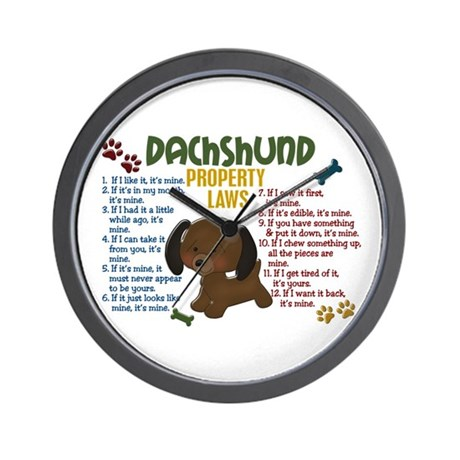 Dachshund Property Laws 4 Wall Clock